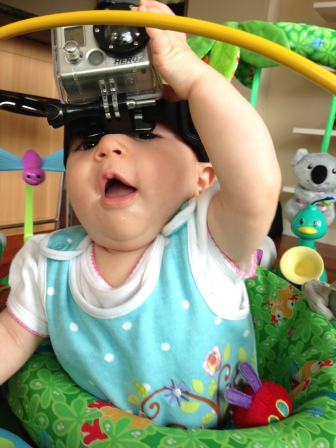 baby with gopro on head
